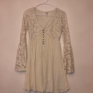 Lace bell sleeve flowy dress v neck